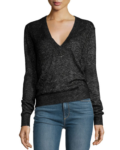 Dominique Cable-Knit V-Neck Sweater, Black Metallic