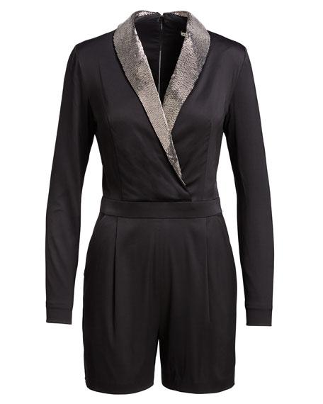 Kyrie Tuxedo Beaded-Collar Romper