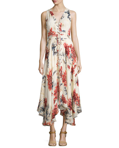 Sleeveless Lace-Up Floral Silk Midi Dress, Lincoln