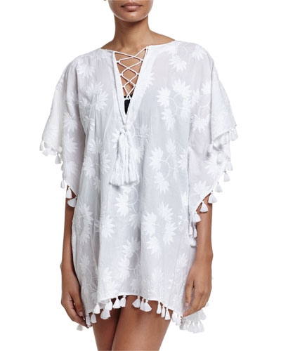 Embroidered Lace-Up Caftan Coverup