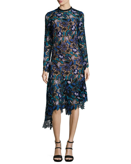 Elora Floral-Lace Asymmetric Midi Dress