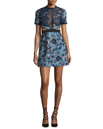 Florence Floral-Embroidered Cutout Dress