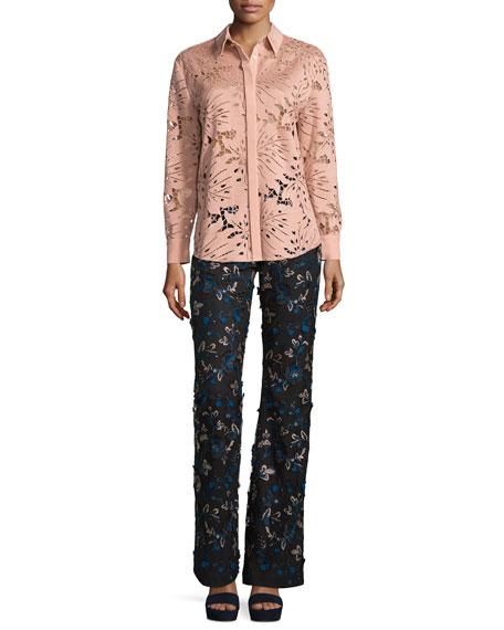 Palm Guipure Lace Long-Sleeve Shirt