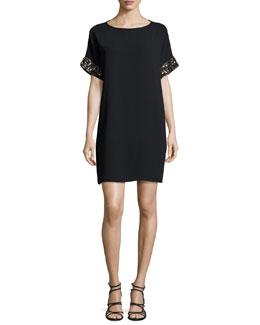 Short-Sleeve Beaded Crepe Mini Dress, Black