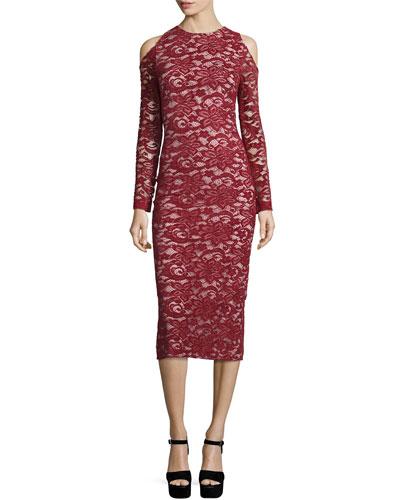 Laila Cold-Shoulder Floral-Lace Sheath Dress