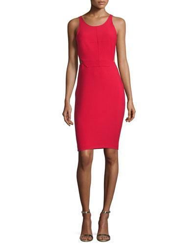 Emmy Sleeveless Cutout Sheath Dress, Cardinal