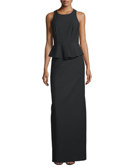 Vivie Sleeveless Peplum Gown, Black