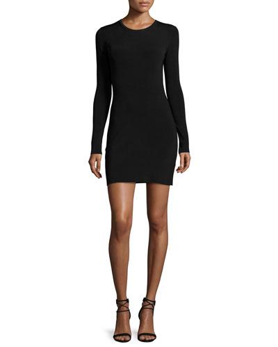 Priscilla Long-Sleeve Cutout Ribbed Mini Dress, Black