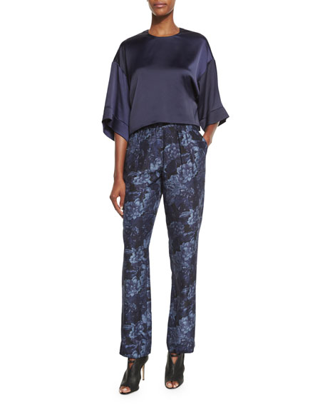 Hawke Floral Silk High-Rise Pants, Royal/Black