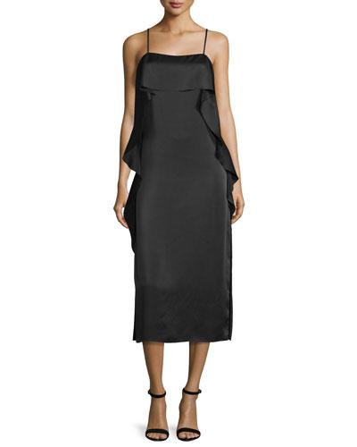 Marlee Ruffle-Trim Satin Midi Dress, Black