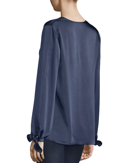 Astrid Long-Sleeve Satin V-Neck Blouse, Royal