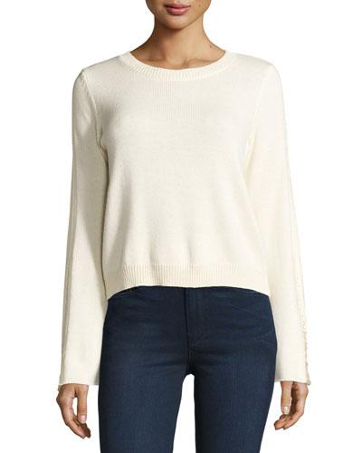 Misha Shredded-Trim Sweater, Ivory