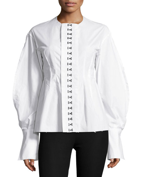 Franck Balloon-Sleeve Hook-Front Poplin Shirt, White