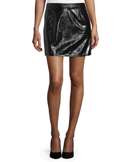 Shiny Leather Mini Skirt, Noir