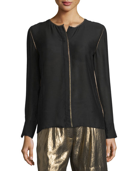 Davidson Long-Sleeve Piped Jersey Blouse, Black