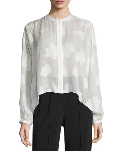 Long-Sleeve Silk Burnout Blouse, White
