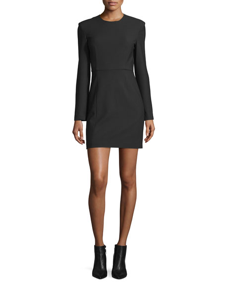 Rudi Long-Sleeve Crepe Open-Back Sheath Dress, Black