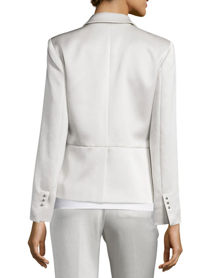 Rory Satin Single-Button Jacket, Champagne