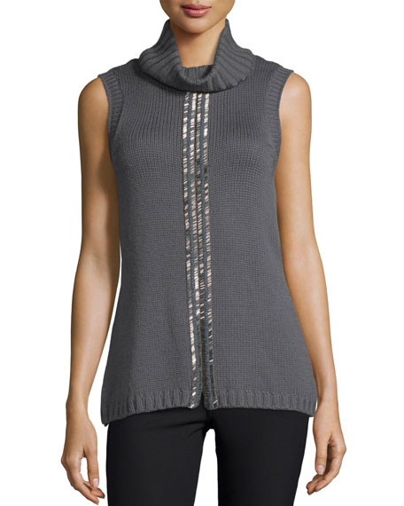 Ramy Brook Leah Beaded Sleeveless Cowl-Neck Sweater, Gunmetal
