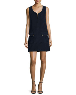 Cord Front-Zip Dress, Deep Blue Dive