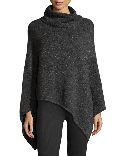 Haesel C Speckled Cashmere Poncho, Dark Heather Gray