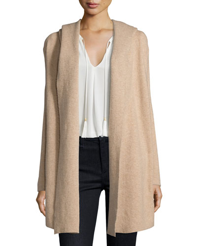 Gredan Long Hooded Sweater, Coffee/Cream