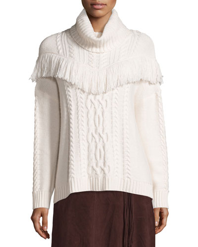 Viviam Cozy Cable Fringe-Trim Sweater