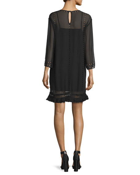 Agatha Laser-Cut Crepe Shift Dress, Caviar