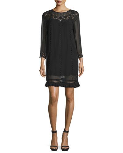 Agatha Laser-Cut Crepe Shift Dress, Caviar