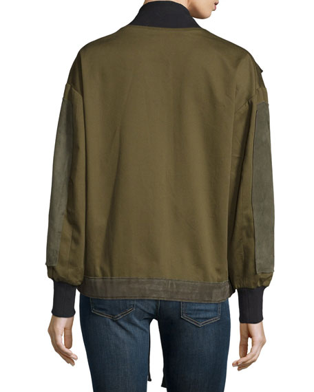 Stone Suede & Twill Bomber Jacket, Army Green