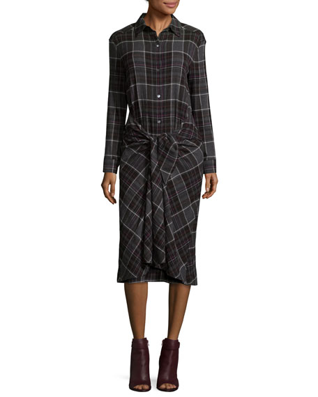 Alice Convertible Plaid Midi Shirtdress, Gray