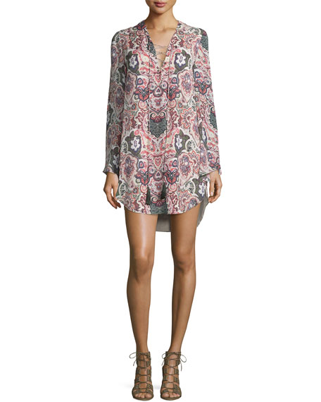 Long-Sleeve Paisley Silk Mini Dress, Change Will Do You
