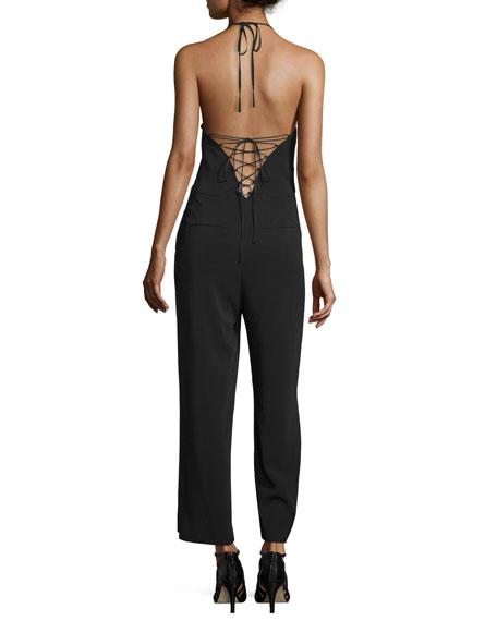 Kate Lace-Back Cropped Halter Jumpsuit, Black