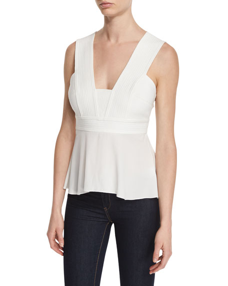 A.L.C. Leigh Sleeveless Pintucked Peplum Top, White