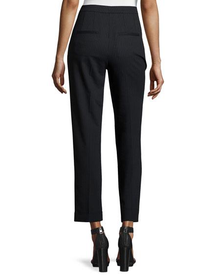 Benji Cropped High-Rise Pinstripe Pants, Navy