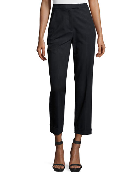 A.L.C. Benji Cropped High-Rise Pinstripe Pants, Navy