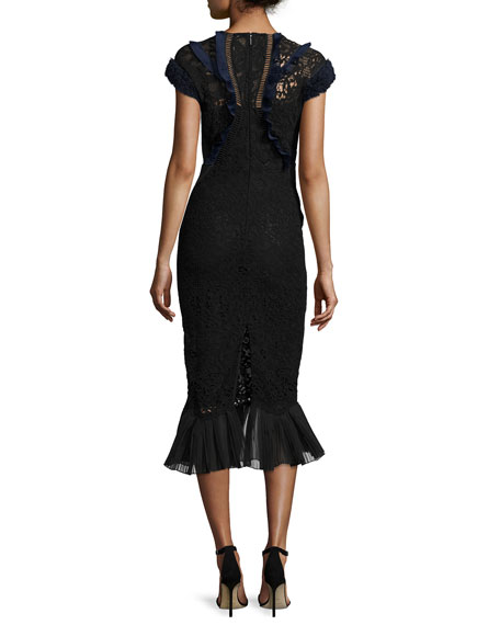 Vien Lace Midi Dress, Black/Navy
