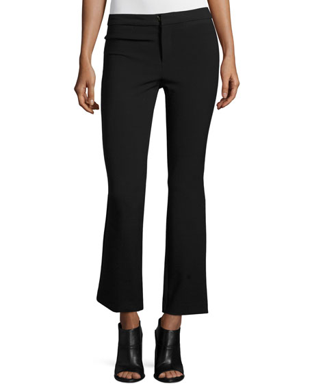 Slim-Fit Flare-Leg Cropped Suit Pants, Black