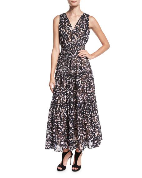 b9959ab387 Rebecca Taylor Oleander Leopard-Print Silk Maxi Dress