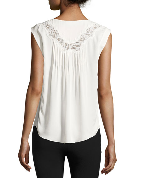 Lace-Inset Sleeveless Silk Top, Chalk