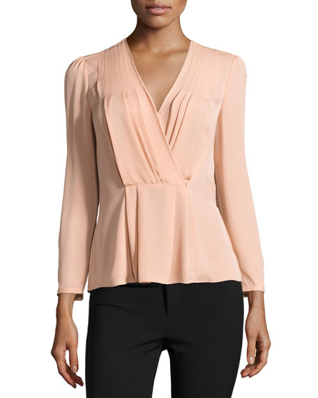 Rebecca Taylor Long-Sleeve Georgette Wrap Top, Nude