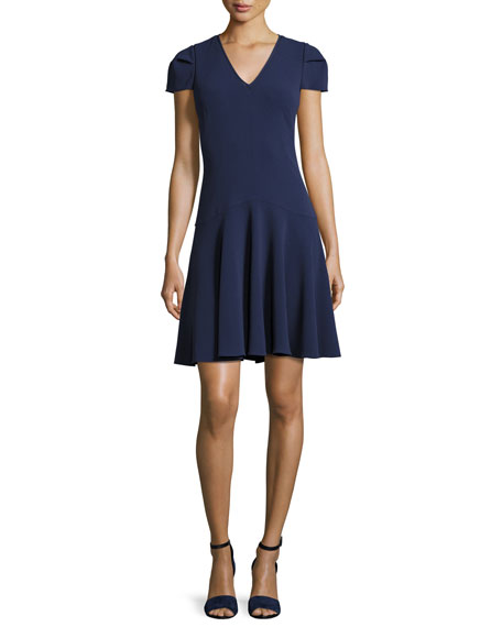 Crepe Short-Sleeve Dress, Violet Stone