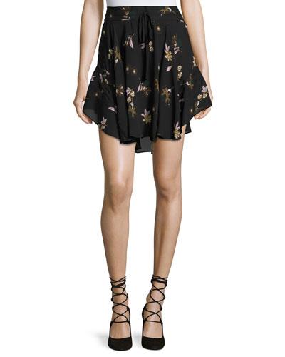 Ceri Floral Silk Drawstring Mini Skirt, Black/Multicolor