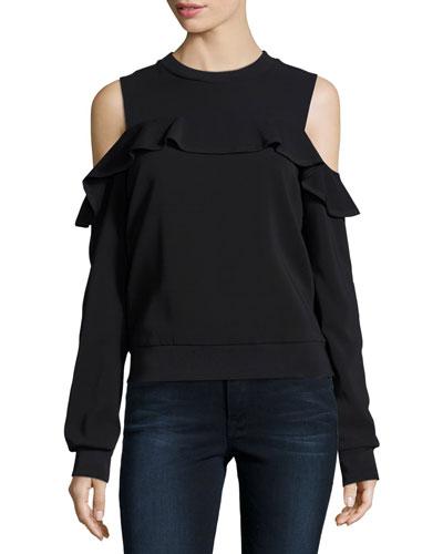 Lindsey Cold-Shoulder Ruffle Top, Black