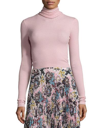 Elisa Ribbed Turtleneck Sweater, Peony