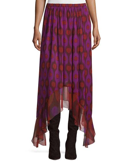 Louella Handkerchief-Hem Silk Skirt, Parry Petite Amethyst