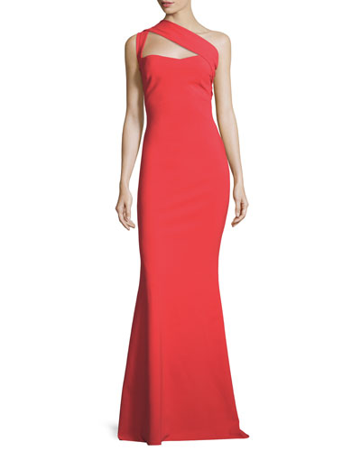 One-Shoulder Sweetheart Jersey Dress, Passion