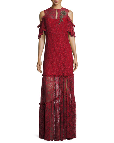 Embellished Cold-Shoulder Lace Gown, Crimson