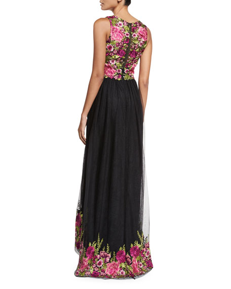 805ca4ca9b8ddc Marchesa Notte Sleeveless Embroidered High-Low Tulle Gown