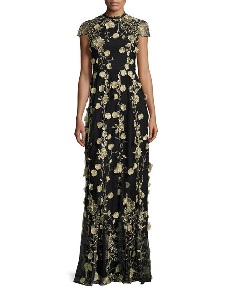Alice + Olivia Cap-Sleeve Floral Embroidered Gown, Black/Gold